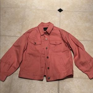 Pink denim jacket, perfect for spring!